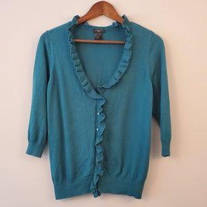 Ann Taylor blue ruffle v-neck cardigan pl